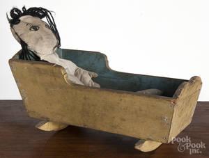 Pennsylvania painted pine doll cradle