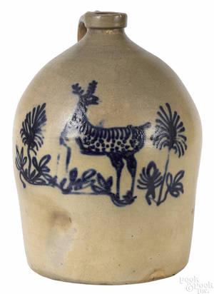 Massachusetts fivegallon stoneware jug 19th c