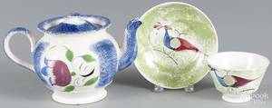 Blue spatter teapot with tulip