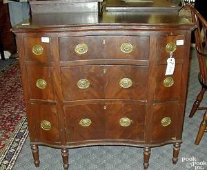Unusual New England Sheraton mahogany chest ca 1820