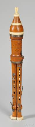 English Boxwood Double Flageolet Bainbridge  Wood London c 1804