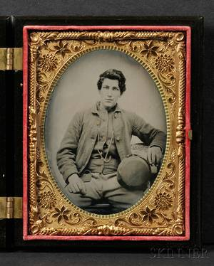 Quarter Plate Tintype Portrait of a Seated Young Man in Military Uniform