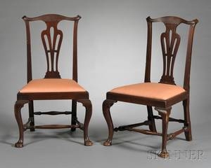 Pair of Chippendale Carved Walnut Side Chairs