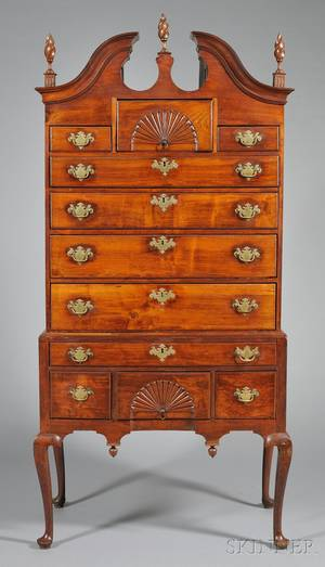 Queen Anne Walnut Fancarved Scrolltop High Chest of Drawers