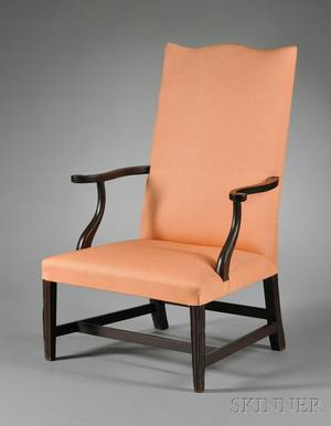 Federal Mahogany Carved Upholstered Open Armchair