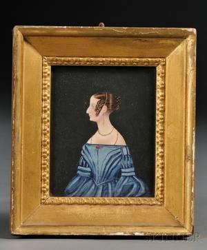 Profile Portrait Miniature of a Woman Wearing a Blue Dress