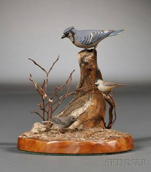 Miniature Carved and Painted Bird Group