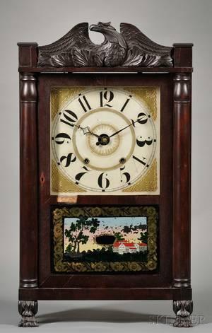 Classical Carved Mahogany and Mahogany Veneer Shelf Clock