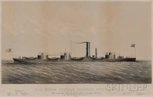 Probably Thomas Bonar lithographer New York 19th Century US STEAM FRIGATE ROANOKE BUILT1852 Razeed at the Brooklyn Navy Yar