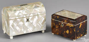 English mother of pearl tea caddy 19th c
