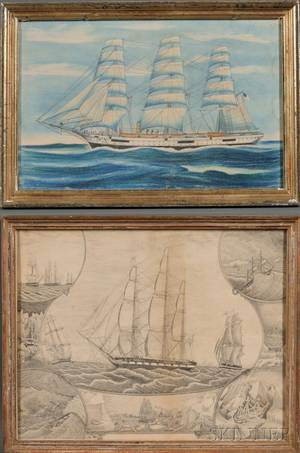 American School 19th Century Lot of Two Framed Marine Works Arctic Whaling Scenes and American Ship at Sea