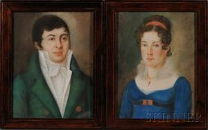 AmericanContinental School 19th Century Pair of Portraits of a Young Couple