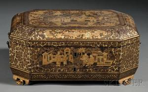Chinese Gilt Lacquer Sewing Box with Sewing Implements