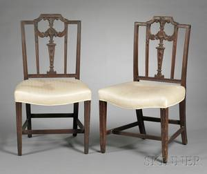Pair of Federal Carved Mahogany Squareback Side Chairs