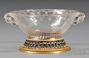 Fine Yellow Gold Cloisonne Enamel and Stonemounted Carved Rock Crystal Bowl
