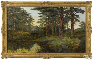 English oil on canvas wooded landscape late 19th c
