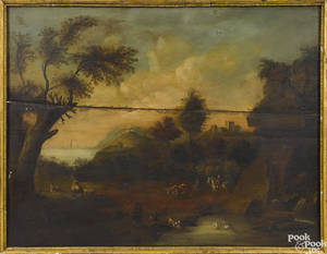 English oil on panel overmantel landscape 19th c