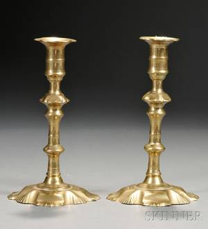 Pair of Queen Anne Brass Shellbase Candlesticks