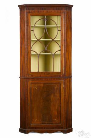 Diminutive George III mahogany corner cupboard late 18th c