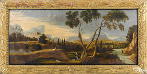 English oil on panel overmantel landscape ca 1800