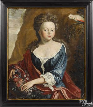 English oil on canvas portrait of a girl late 18th c