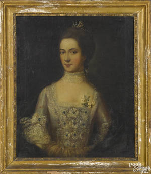 English oil on canvas portrait of a woman late 18th c