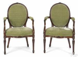 Pair of George III carved mahogany armchairs late 18th c