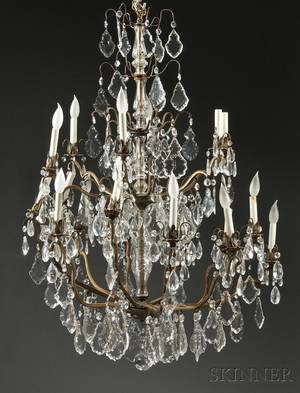 Bronze and Crystal Eighteenlight Chandelier