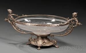 Silvered Bronze and Glass Center Bowl