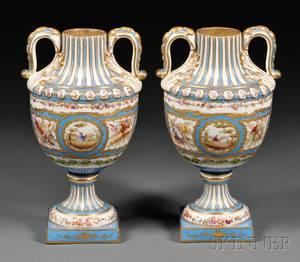 Pair of Sevresstyle Porcelain Vases