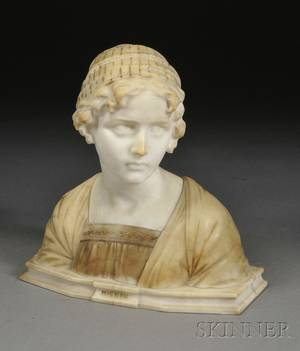 Italian Alabaster Bust of a Maiden with Pedestal