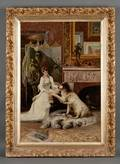 American School 19th Century Woman with Dog in an Artistic Interior
