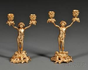Pair of Dore Bronze Figural Candelabra