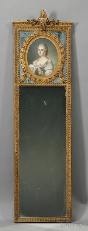 Giltwood Pier Mirror with Handpainted Portrait
