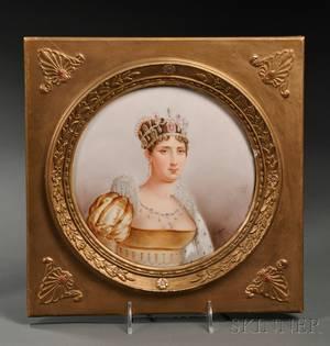 Handpainted Porcelain Plaque of Empress Josephine
