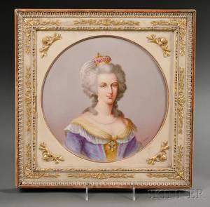 Handpainted Porcelain Plaque of Marie Antoinette