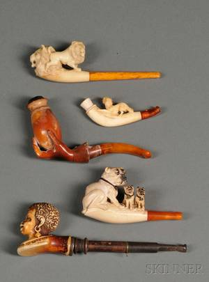 Five Carved Meerschaum Cheroot Holders
