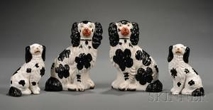 Two Pairs of Staffordshire Pottery Spaniels