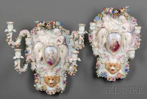 Pair of French Porcelain Fourlight Wall Sconces