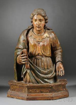 French Carved Wood Figure of a Female Saint