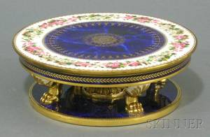 Sevres Painted and Gilded Cobalt Blue Porcelain Cake Stand