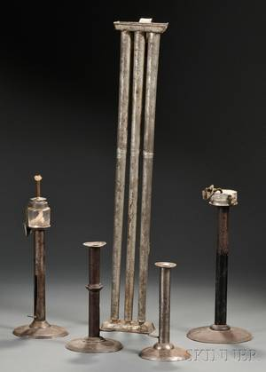 Four Sheet Iron Hogscraper Pushup Candlesticks and Long Tin Candle Mold