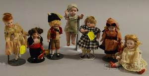 Seven Small AllBisque Dolls