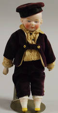 Bisque Shoulderhead Boy Doll in Velvet Suit