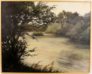 Large Riverscape Oil Painting By Elsie Dresch