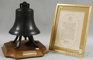 1976 Commemorative Blackpainted Bronze Liberty Bell on Stand