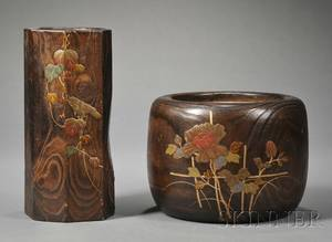 Two Japanese Carved and Paintdecorated Wood Ikebana Vases
