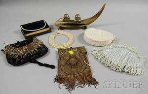 Four Beaded Purses a Faux Pearl Collar a Freshwater Pearl Necklace and a Steer Horn Ink and Pen Stand