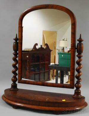 Victorian Mahogany Veneer Dressing Mirror with Twistturned Columns