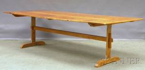 Long Country Pine Trestlebase Dining Table